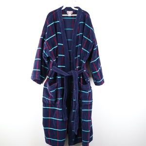 Vintage 80s Rockabilly Plaid Terry Cloth Bath Robe